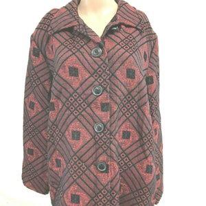 apparenza sz XLG red black button front blazer